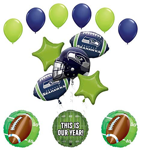 eattle Seahawks Football Party Supplies This is Our Year Balloon Bouquet Decoration ()