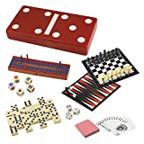Best 7 in 1 Travel Game Set Adult Kids Man Men Checkers Chess Dominoes Backgammon & Many More Inexpensive Stocking Stuffer Gift Idea Married Couple Family Travelers