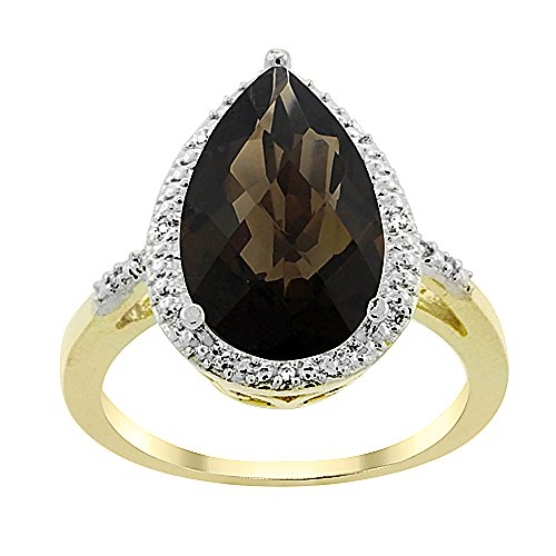 10K Yellow Gold Natural Smoky Topaz Ring Pear Shape 10x15 mm Diamond Accent, size 6