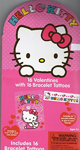Hello Kitty 16 Valentines with 16 Bracelet Tattoos -