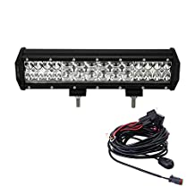 Liteway 224W 12Inch Philips Lumileds LED Light Bar Waterproof Flood Spot Combo Work Driving Lights with Mounting Brackets & Wiring Harness for SUV UTE ATV Truck 4x4 Boat Lamp, 1 Year Warranty