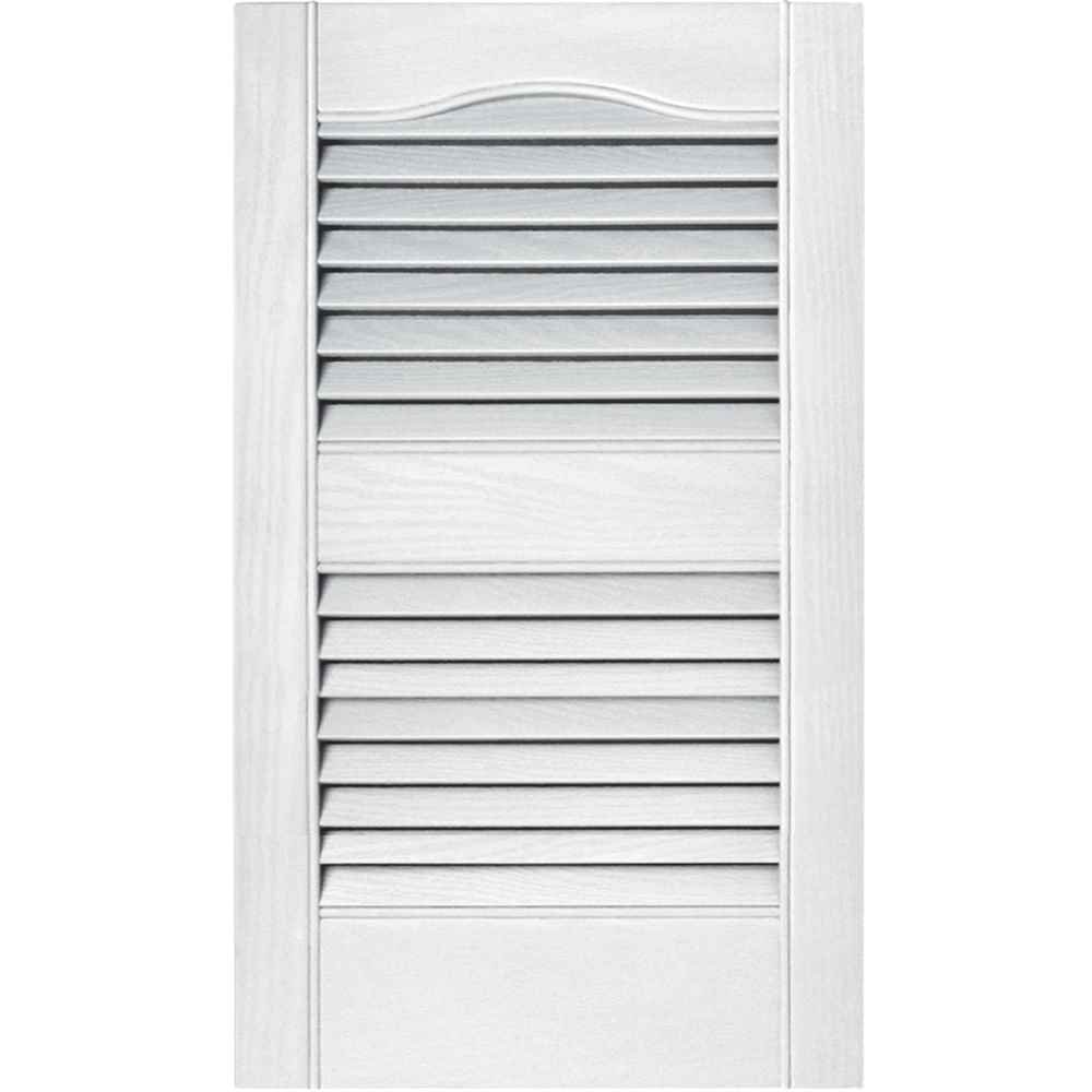 Builders Edge 12 in. x 55 in. Louvered Vinyl Exterior Shutters Pair in #001 White 010120055001