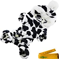 Cozy Cow Printed Flannel Pet Dog Cat Pajamas Jumpsuit Apparel Clothes with Hat for Dogs Cats Pets