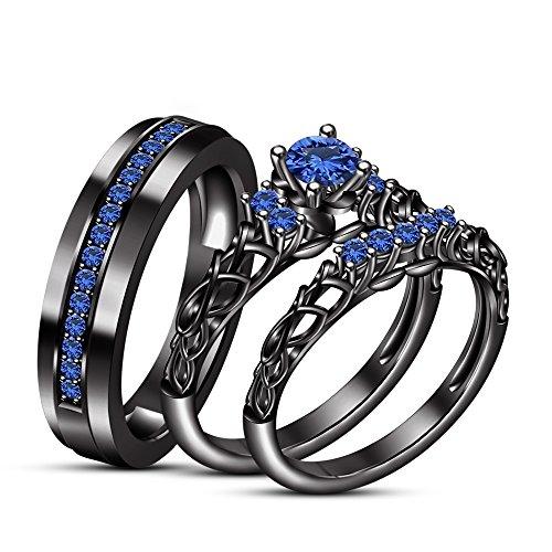 TVS-JEWELS Solid Black Rhodium Plated 925 Sterling Silver Gemstone Trio Set 3Pcs His And Her Rings (Blue ()