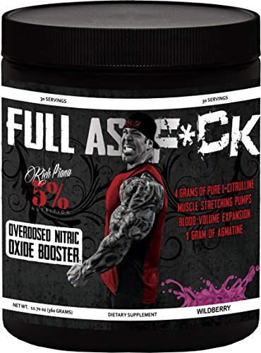Rich Piana 5% Nutrition FULL AS F*CK Overdosed Nitric Oxide Booster (Wildberry) 12.70oz (360 Grams) 30 Servings