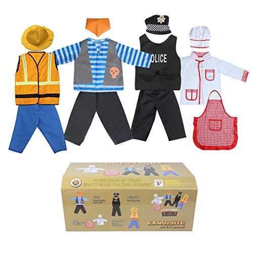 Sinuo Boy's Dress Up Costumes Set, Role Play Set 12-pcs Dress Up Trunk Pirate, Chef, Construction Worker, Policeman Costume Fit Boys Age from 3-8