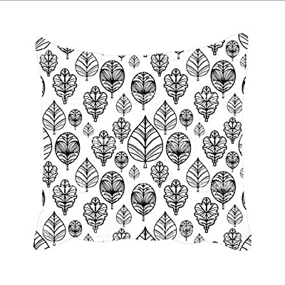 Ranhkdn Leaves in Black and White Square Decorative Throw Pillows Case Linen Cushion Covers Shell