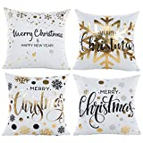 Merry Christmas Series Cotton Linen Decorative Throw Pillow Covers 18 Inch By 18 Inch (Gold Foil Xmas 4)