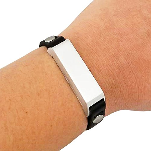 Fitbit Bracelet for Fitbit Flex 2 Fitness Trackers - The KATE Single-Strap Studded Leather Fitbit Bracelet - Alternative to Tory Burch Fitbit (Black & Silver Studded, - Tory Similar Burch To