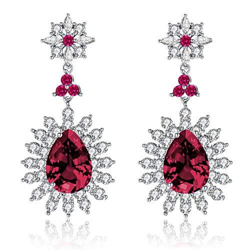 Me&Hz Women Girls Elegant Fuchsia Pink Crystal Earrings Dangle Teardrop Austrian Crystal Birthstone Flowers Earrings Bride Wedding Party Jewelry ()