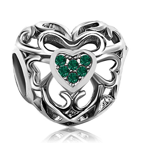 JMQJewelry Heart Birthstone Love May Green Charms Beads for Bracelets Mother's Day ()