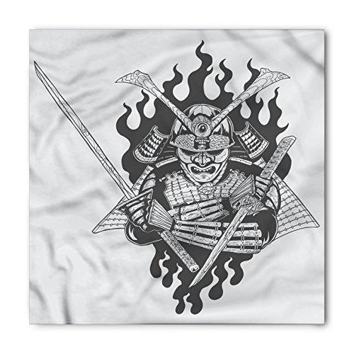 Spiritual Fighter (Japanese Bandana by Lunarable, Fearsome Ghost Ninjain FireOriental Mythology Spiritual Eastern Fighter Print, Printed Unisex Bandana Head and Neck Tie Scarf Headband, 22 X 22 Inches, Black White)