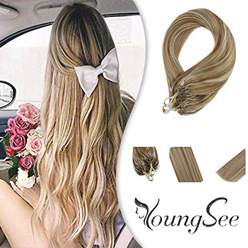 Youngsee 14inch Micro Ring Human Hair Extensions Highlight Caramel Blonde With Bleach Blonde 1G/S Micro Link Rings Real Hair Extensions 50 Strands