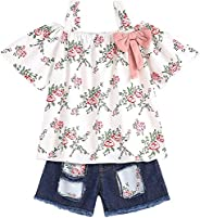 oklady Baby Girls Clothes Floral Ruffle Bowknot Tank Top+Denim Shorts Outfit Summer Outfit Sets