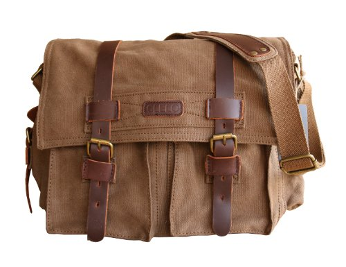 CLELO Men's Trendy Colonial Italian Style Messenger Bag with Leather Straps (Coffee) -