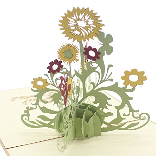 Good Luck Wishes Cards - Cute Star Sunflower 3D Pop Up Greeting Cards with Envelope, Gift for Mother's Day Children's Day Birthday Best Wish Good Luck Wedding Invitation Congratulation (Gold Cover)