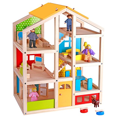 - Pidoko Kids Skylar Dollhouse with 20 Pcs Furniture, 5 Dolls and a Pet Dog