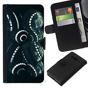 KLONGSHOP // Tirón de la caja Cartera de cuero con ranuras para tarjetas - Sci Fi extranjero Ingeniería Espacial - Samsung Galaxy Core Prime //