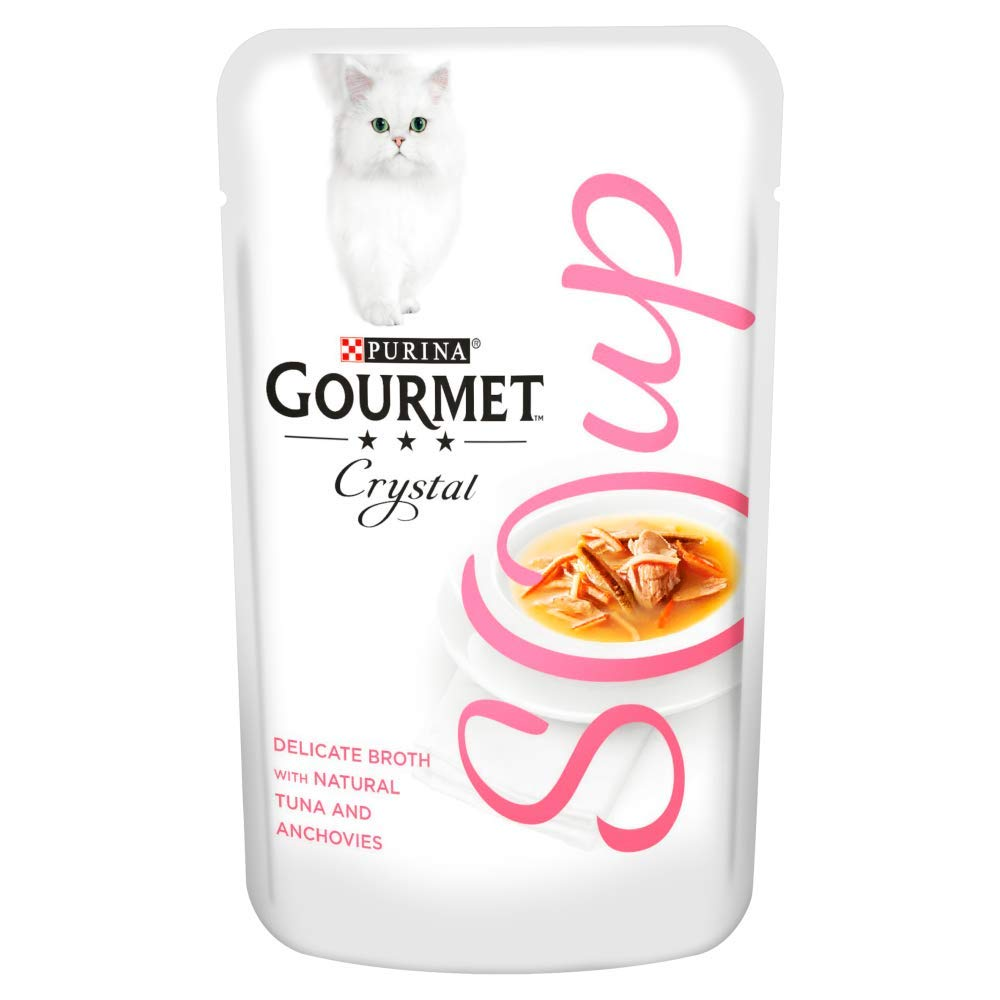 Gourmet Adult Cat Soup Wet Food Pouch Tuna/Shrimp/Whitefish, 40 g - Pack of 32 Yes
