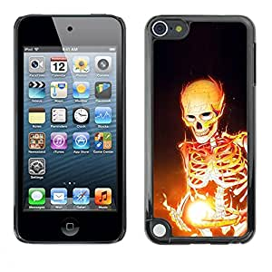 Slim Design Hard PC/Aluminum Shell Case Cover for Apple iPod Touch 5 Fire Skeleton / JUSTGO PHONE PROTECTOR