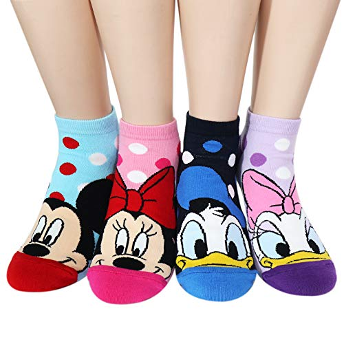 Kiss socks Socksense Animation Character Disney Series Women's Original Socks (Mickey Candy_4pairs)