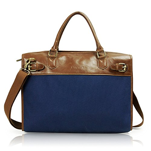 Lavievert Cotton Canvas and Crazy-horse PU Leather Laptop Bag / Vintage Cross Body Shoulder Bag and Handbag 2 in 1 / Notebook Ultrabook Tablet Padded Case for Up to 15.6 - Cotton Briefcase Leather