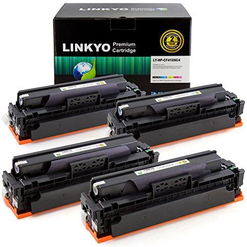 LINKYO Compatible Replacement for HP 410X 410A CF410X CF411X CF412X CF413X Color Toner Cartridge (Black, Cyan, Magenta, Yellow, 4-Pack)