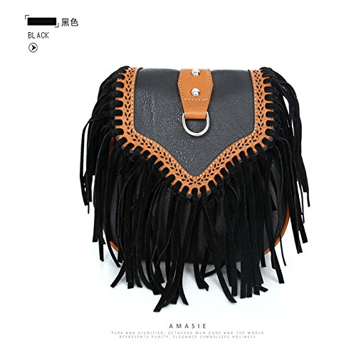 Packet black Bag Bags with Lightweight Bag Style Leather Women Vertical Shoulder Joyfeel Buy Tassel R8wO1qn8f