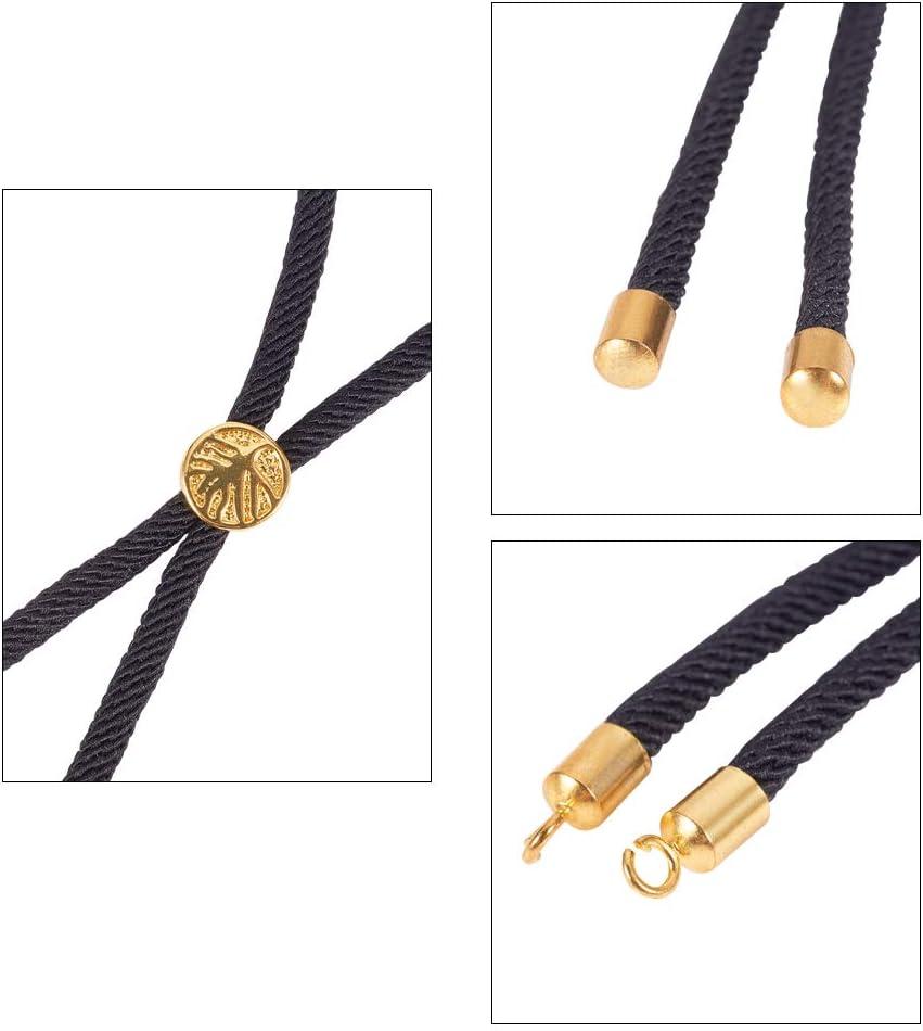 abalorios del /árbol de la vida PandaHall 6 hebras ajustables de nailon para hacer pulseras 12,5 cm con cord/ón trenzado y hallazgos de lat/ón respetuoso con el medio ambiente chapado en oro