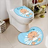 vanfan 2 Piece Toilet lid cover mat set Baptism Boy Christening Striped Dotted Background Christian Rel Soft Shaggy Non Slip