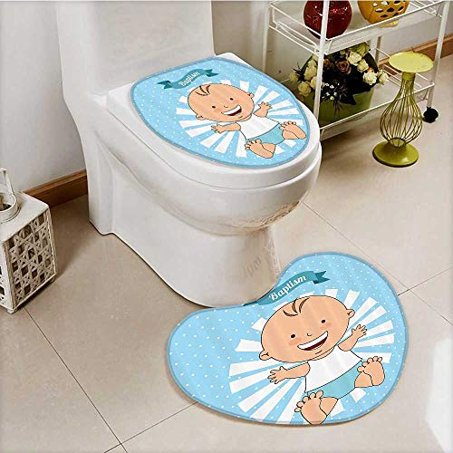 vanfan 2 Piece Toilet lid cover mat set Baptism Boy Christening Striped Dotted Background Christian Rel Soft Shaggy Non Slip by vanfan