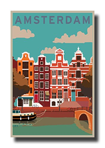 HandTao Vintage Travel Amsterdam Art Deco Canvas Wall Art Beautiful Picture Prints Living Room Bedroom Home Decor Decorations UnStretched and No Framed 17