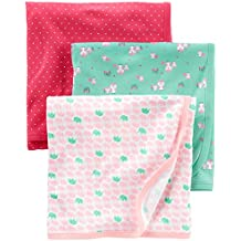Simple Joys by Carter's Baby Girls' 3-Pack Cotton Swaddle Blanket, Pink/Red/Mint, One Size