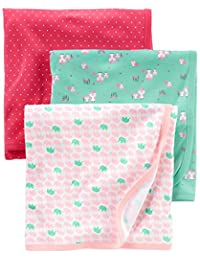 Simple Joys by Carter's Baby Girls' 3-Pack Cotton Swaddle Blanket, Pink/Red/Mint, One Size BOBEBE Online Baby Store From New York to Miami and Los Angeles