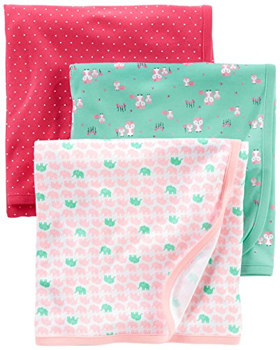 Simple Joys by Carter's Baby Girls' 3-Pack Cotton Swaddle Bl