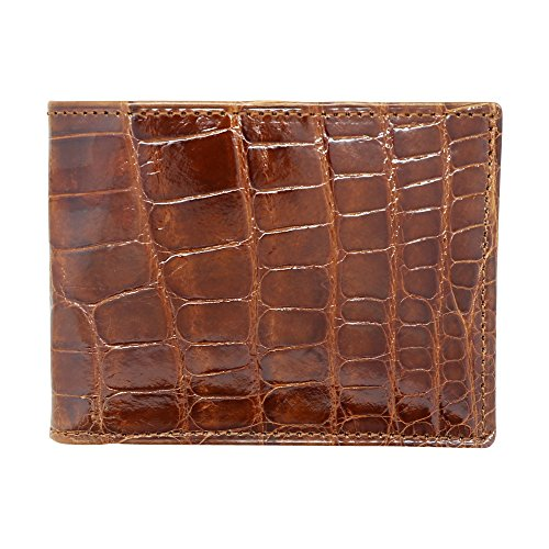 Cognac Glazed Genuine Alligator RFID Wallet - American Factory Direct - Made in USA by Real Leather Creations FBA734 - Genuine Wallet Usa
