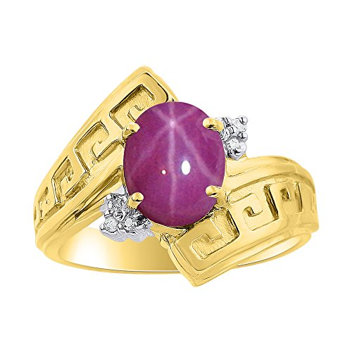Diamond & Star Ruby Ring Set In Yellow Gold Plated Silver - Greek Key Design - Color Stone Birthstone ()