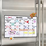 Magnetic Dry Erase Calendar for Fridge 16.9'' x 11.8'' - 2018 White Board Calendar Planner for Kitchen Refrigerator, Monthly Erasable Refrigerator Calendar, Stain Resistant, Strong Magnets