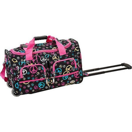 OS Peace Pink Blue Gold Rolling Duffle Bag, 22 Inch, Inline Skate Wheels Polyester by OS