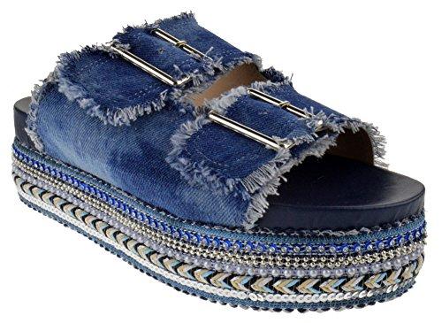 Nature Breeze Ernie 01 Womens Dual Buckle Studded Espadrille Open Toe Platform Sandals Blue Denim ()