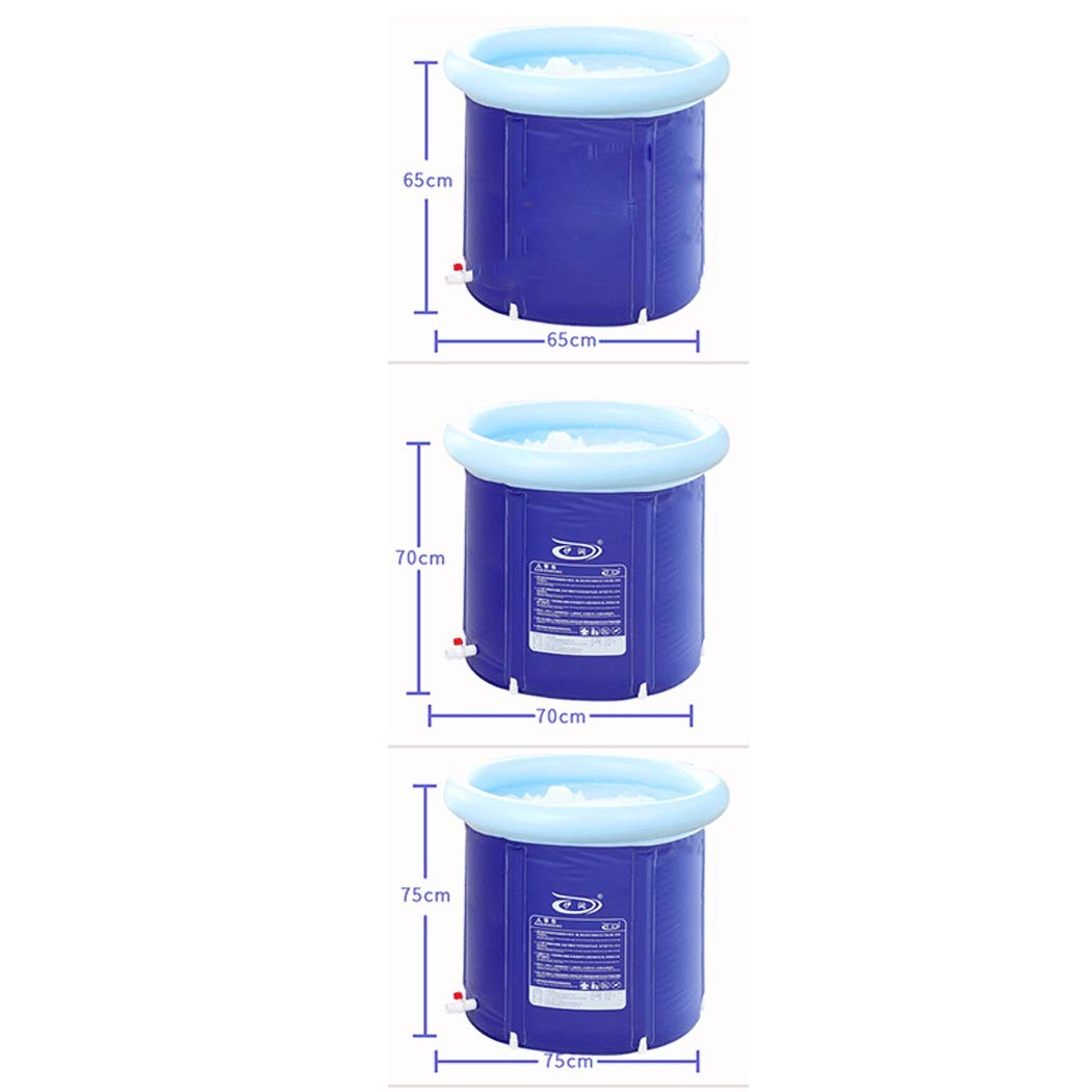 YONGYONG Blue Children's Adult Folding Plastic Bath Barrel Household Thickening Large Tub Body Adult Bath Barrel 65 * 65cm, 70 * 70cm, 75 * 75cm (Color : Blue, Size : 65 * 65cm)