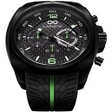 LAPIZTA Addax Men's 48mm Chronograph Racing Watch - Carbon Fiber Dial w/Green Accents L20.1003