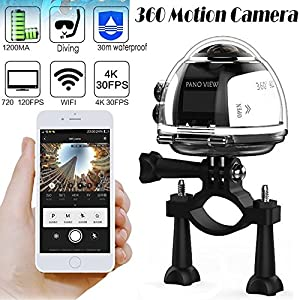 OVTECH Wireless 360 Degree Panoramic Camera 3D VR Action Sports Camera Wifi 16MP 4K HD 30fps Waterproof 230° Lens Mini DV Player Silver from OVTECH INDUSTRIA CO.,LTD