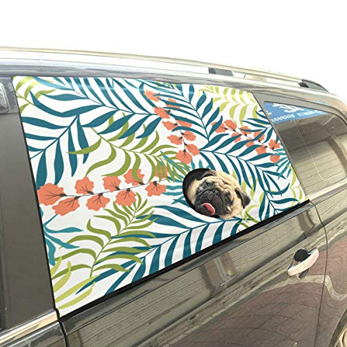 Danexwi Palm Tropical Cheerful Leaves Foldable Pet Dog Safety Car Printed Window Fence Curtain Barriers Protector for Baby Kid Adjustable Flexible Sun Shade Cover Universal Fit for SUV