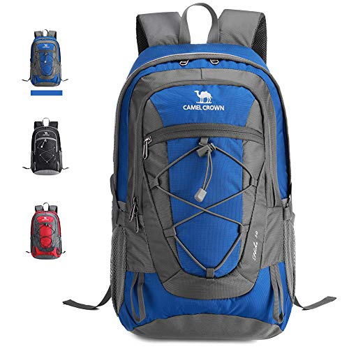 CAMEL Outdoor Hiking Backpack, for Daily Commuting, Camping Bag, Trekking Rucksuck, Durable Travel Daypack with Multi-Function Compartments, 8 Gal/30L; Blue/Red/Black; 2nd Generation