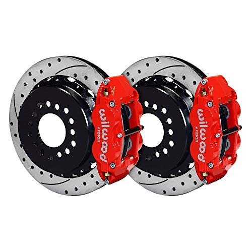 WILWOOD 140-13677-DR FNSL4R Rear P-Brk Kit,12.88'', Drill, Red Big Ford New Style 2.50'' Off Stag Mount by Wilwood Brakes (Image #1)