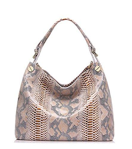 CLELO Genuine Leather Handbag for Women Python Embossed Shoulder Bag Soft