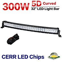 Racbox 32 Inch Curved 5D LED Light Bar Combo Beam 30000Lm Off Road Work Fog Light Driving Lamp for SUV Jeep Truck Boat