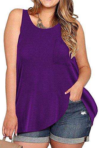 - VOGRACE Womens Plus Size Tank Top Loose Sleeveless T-Shirt Tunic Shirt XL Purple
