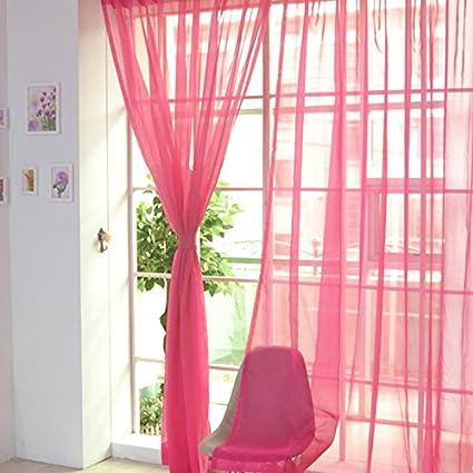 NIBESSER Rideau de Fenêtre Drapé Perspective pour Chambre Rideau Mariage  Décor,1 Pièce 100cmx200cm (Fushia)